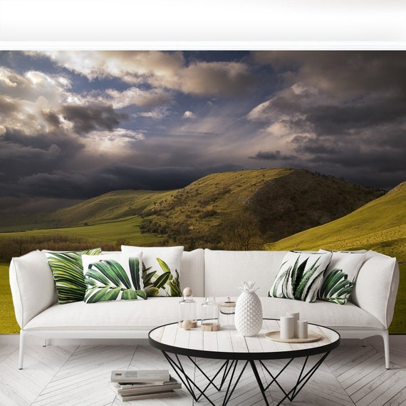 wallcovering Gorgeous greens in the landscape and with light painted Italian Meadows reusable or traditional wall mural removable mural