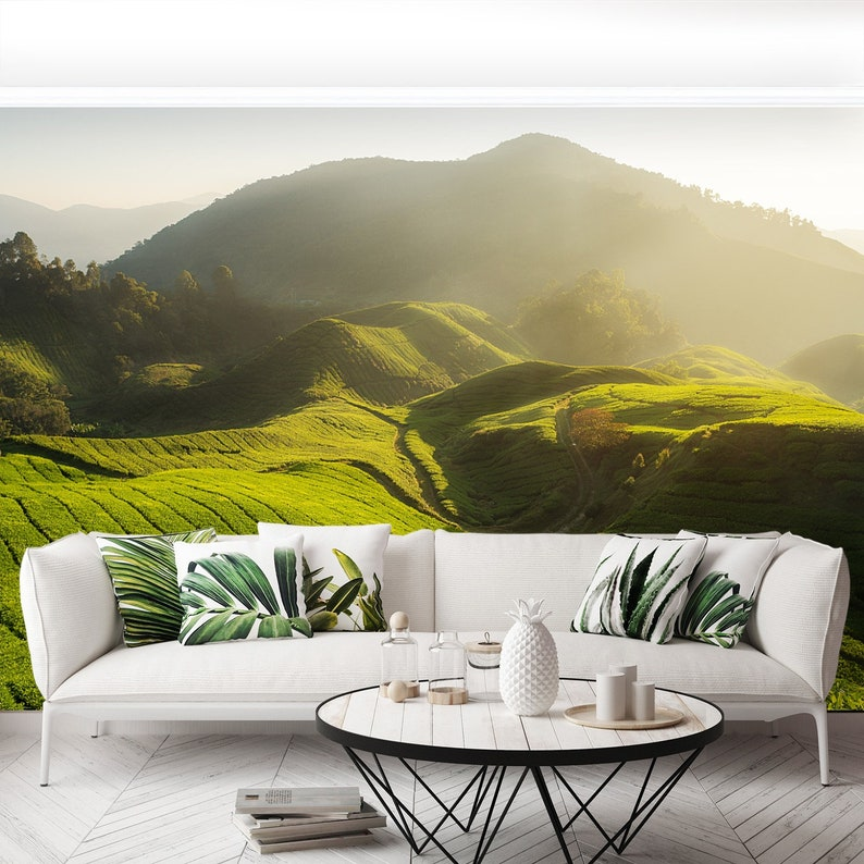 Malaysiarn  vinyl Tea plantation traditional paste /& glue or removable mural wallcovering Tea plantation in Cameron highlands