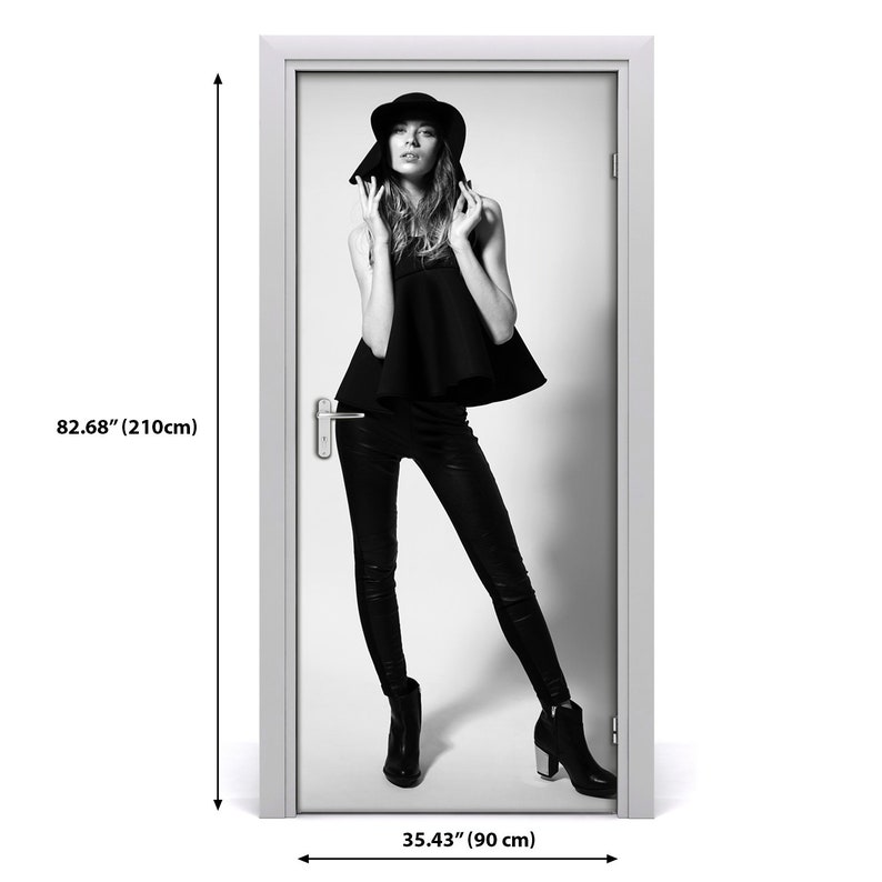 Self adhesive Door wrap removable Peel /& Stick Decal People Woman in black  DS/_2088