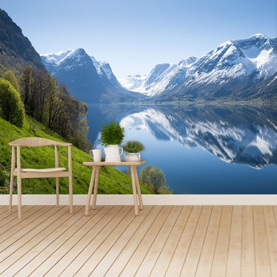 Fjord In Norway Reusable Or Traditional Photo Wallpaper Mural Panorama Of Fjord In Norway Wall Art Photo Traditional Wall Decor Non