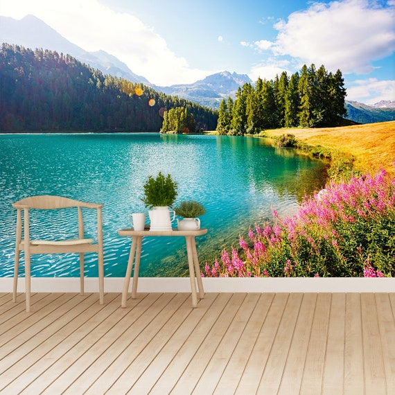 Swiss Alps Adhesivie Or Traditional Wallpaper Wall Mural Azure Pond Champfer Is A Unique Place On Earth Picturesque Day And