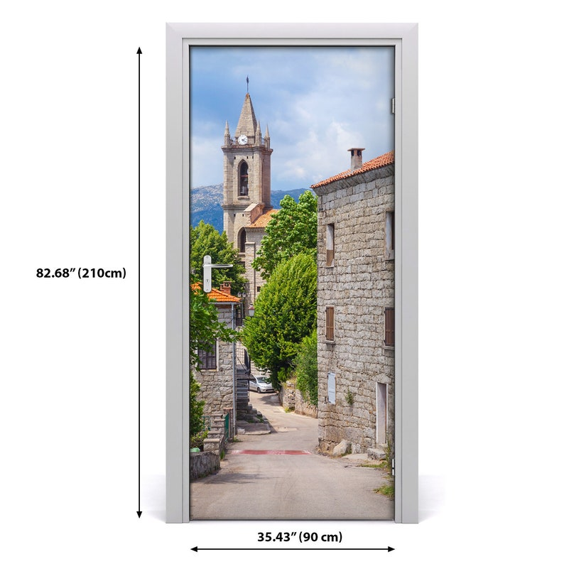 Self adhesive Door wrap removable Peel /& Stick Architecture village street  DS/_1945