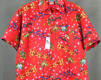 f81f869d True Face Vintage Multicolor Hawaiian Santa And Parrots Style Short Sleeve  Polyester Shirt Size XL