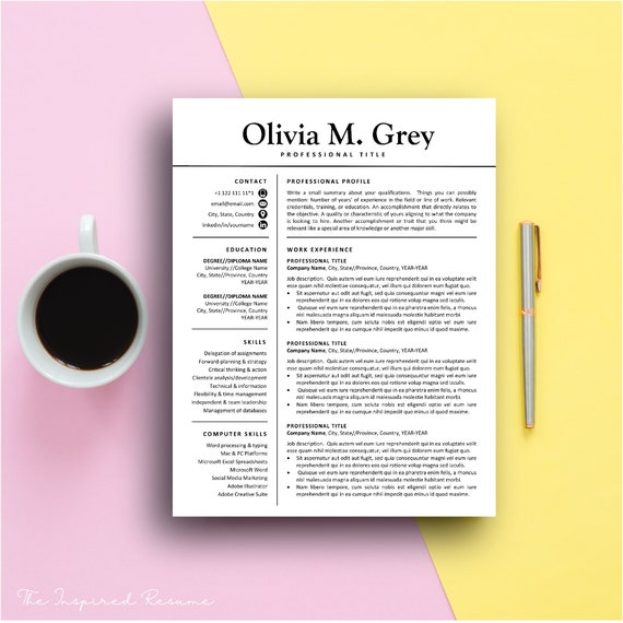 Resume Template for Word & Pages // Mac - PC // CV Template Bundle // 5  Page Resumes with FREE Cover Letter