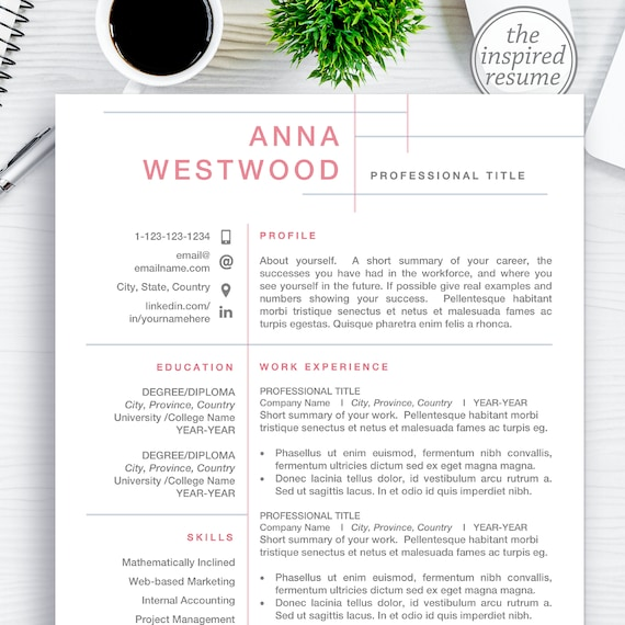 Clean CV Template Design for Word and Mac Pages, Editable Resume Bundle  Cover Letter, 1 2 3 Page Professional Resumes Instant Download