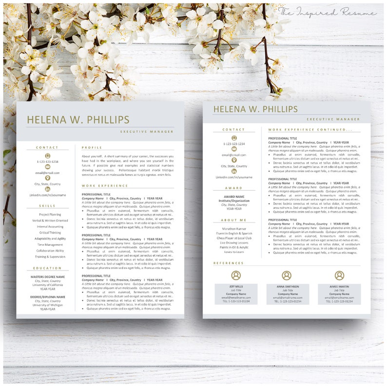 Resume Template With Cover Letter Resume Template Professional Word And Mac Pages Educator Resume Template Instant Download