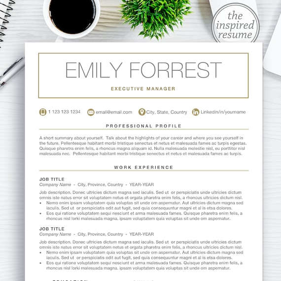Modern Resume Cv Template For Word Mac Pages 1 2 3 Page Resume Templates Best Custom Resumes With Free Cover Letter Instant Download