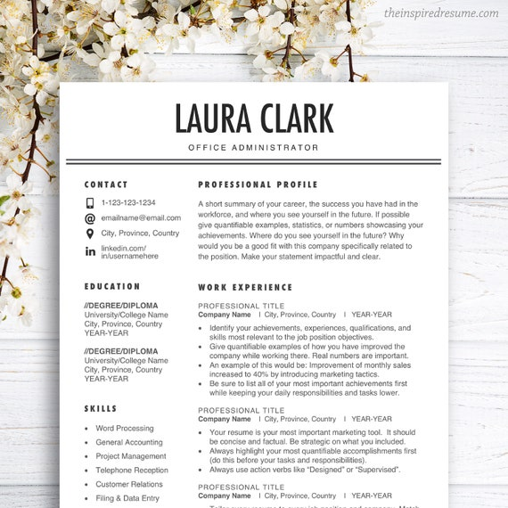 Clean Resume Template for Ms Word and Apple Pages, 1 2 3 Page Resume for  Mac PC, FREE Cover Letter, Administration, Office, Student, Instant