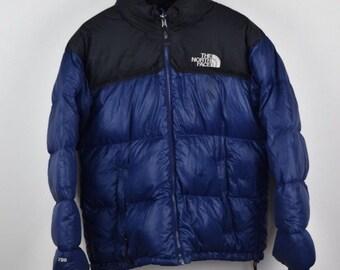 Mens North Face Nuptse 700 Down Blue M Size Medium Puffer Coat Used  Condition e009a581e