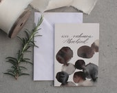 "Condolence folding card ""we say goodbye"" - black-brown circles"