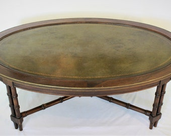 leather top faux bamboo table - Leather Top Coffee Table