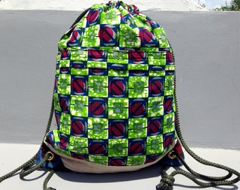 African backpack bag, WaxPrint bag, gym bag, kitenge backpack, swimming bag, sports bag, everyday bag, Adam bag No.6