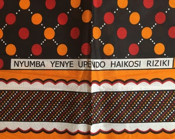 "African fabric: Kanga nzito ""dotted path"", towel, Swahili saying, Tanzania Khanga, beach towel, wrapcloth, Lesso, cotton fabric"