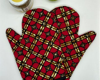 Oven glove, African patterned kitchen glove handmade from wax print, geometric pattern