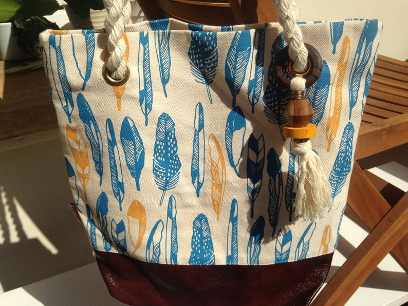 African Handbag Dead Bag Handmade Feather Blue Canvas-FFabric Bag Shoulder Bag Cloth Bag Shoulder Bag