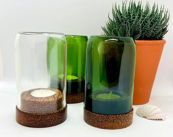 Windlight made of recycled glass bottle/base of coconut wood/ green/transparent/ approx. 12 cm/handmade from wine bottles/tea light holder