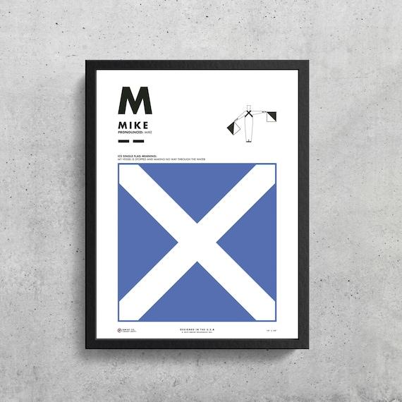 Signal Flag M Mike M Phonetic Alphabet Morse Code Etsy