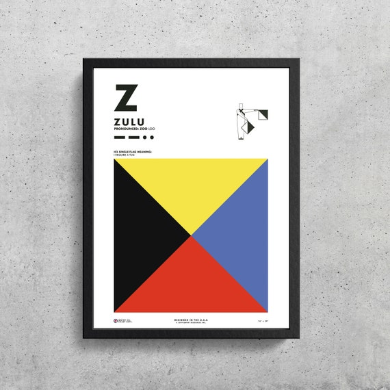Signal Flag Z Zulu Z Phonetic Alphabet Morse Code Etsy