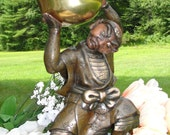Antique Japanese Meiji Bronze Mixed Metal Figure Holding a Gilded Singing Bowl on Wooden Base