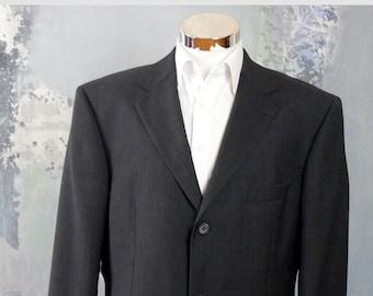 cf638ed8e Black Blazer, 1990s Hugo Boss Jacket, Retro Super 120 Italian Virgin Wool:  Size XXL (46L US/UK)