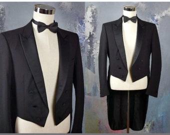 2a42f98db19be Black Tailcoat, European Wool Evening Tuxedo w Tails, Full-Dress Steampunk  Jacket, Retro Formalwear, Made in West Germany: Large, 40 US/UK