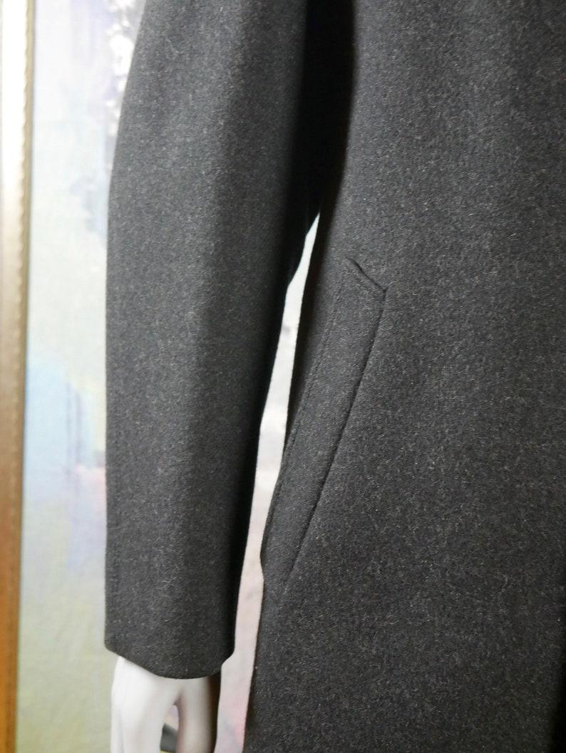 Europan Vintage Overcoat Charcoal Gray Wool Coat 46 USUK Retro Mad Men Style Winter Coat: Size XXL