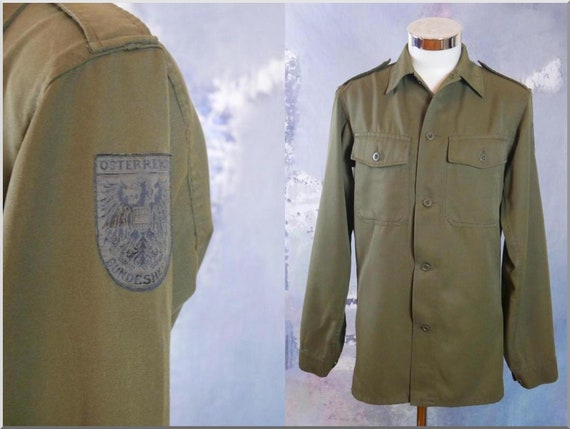 Army Shirt, Austrian Vintage Khaki Green Long-Slee