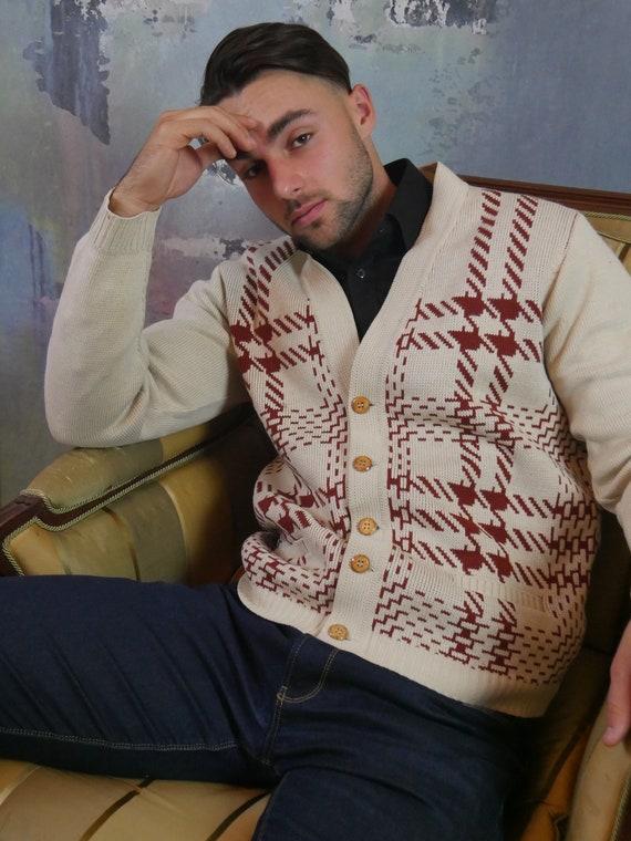 Vintage Cardigan, Creamy Beige Cotton Wool Blend K