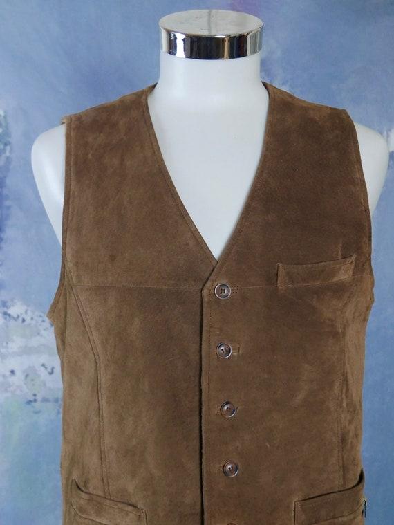 Size 810 US 1214 UK Brown Suede Vest 1990s European Vintage Genuine Leather Waistcoat