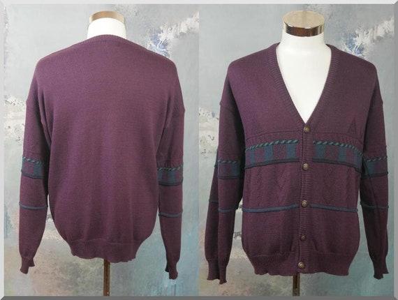 Purple Cardigan, Retro European Vintage Wool Blend