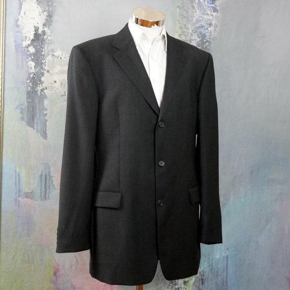 ... Vintage Hugo Boss Blazer, pure laine vierge italienne des années noir  1990 rétro Super 120 ... d4692130cfa