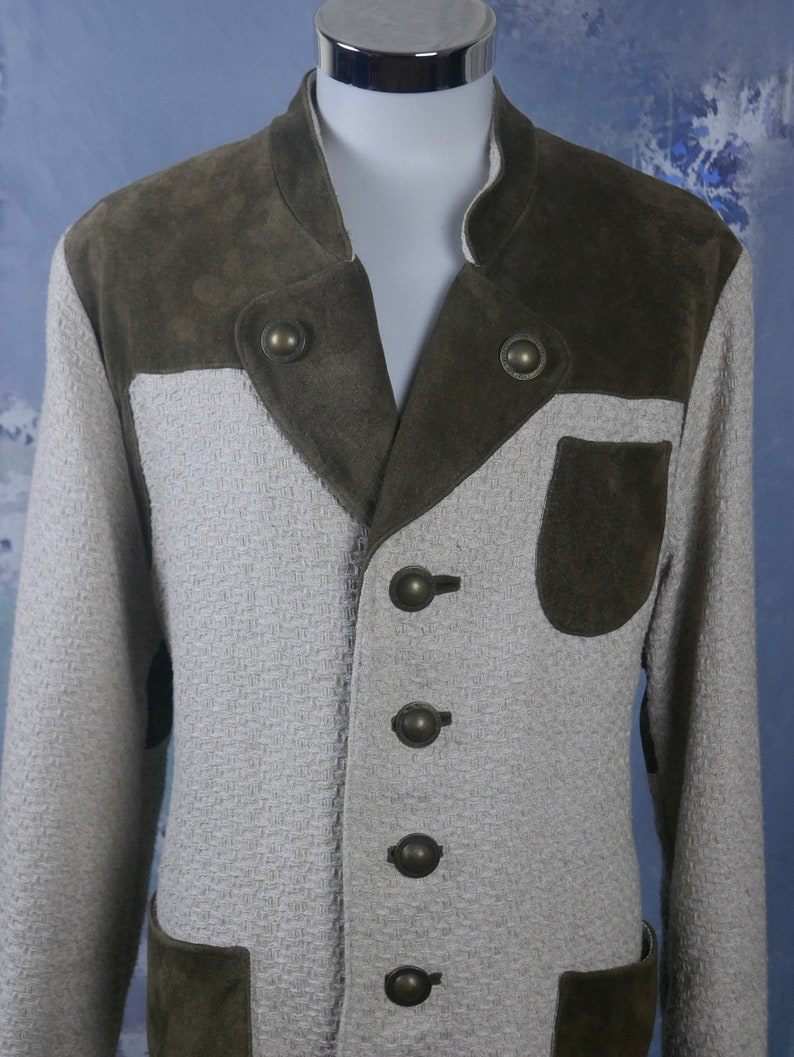 Size XL Trachten Jacket 42 USUK European Vintage Creamy Beige Basketweave Wool Blend /& Olive Brown Suede Leather Jacket