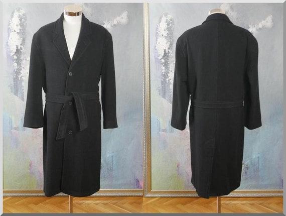 076db8f98ccb Navy Blue Wool Coat 1990s German Vintage Long Mad Men Style | Etsy