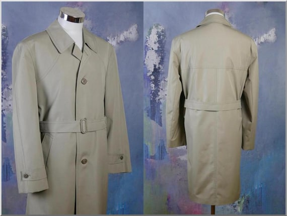 Retro Menswear German Single-Breasted Dusty Pale Green Classic Belted Raincoat Size 42 USUK Vintage Trench Coat