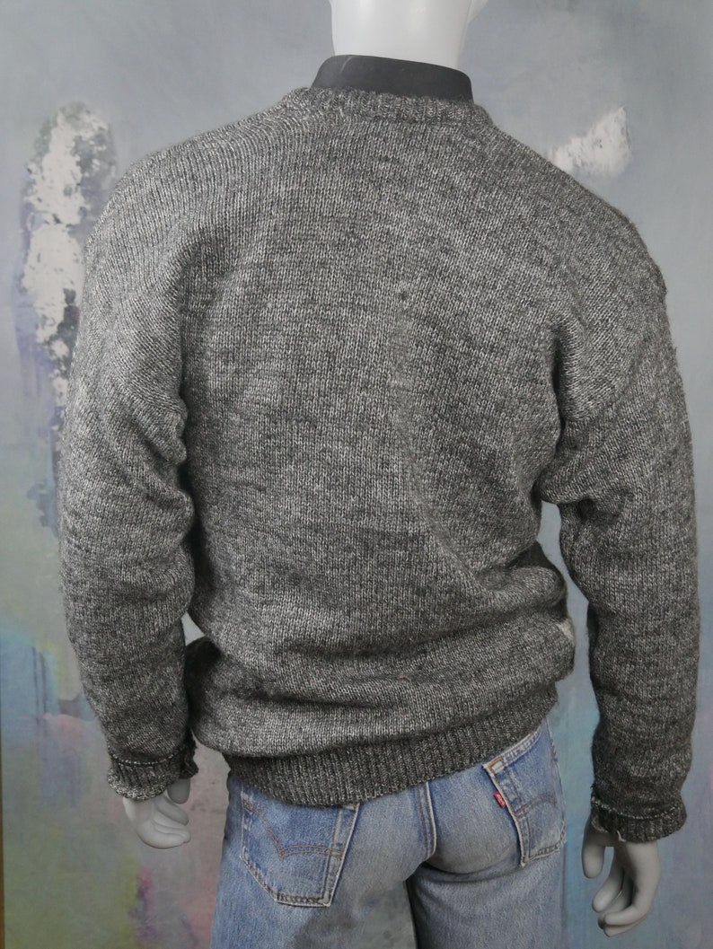 1980s Sweater European Vintage: XL 42 to 44 USUK Retro Crew Neck Gray Wool Hand Knit Pullover Jumper Geometric Pattern on Front