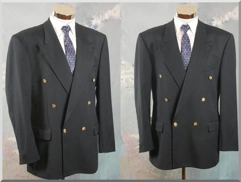 063d7834a Navy Blue Double-Breasted Blazer, European Vintage Wool Jacket with Peak  Lapels & Gold Buttons: Size XL (44 US/UK)