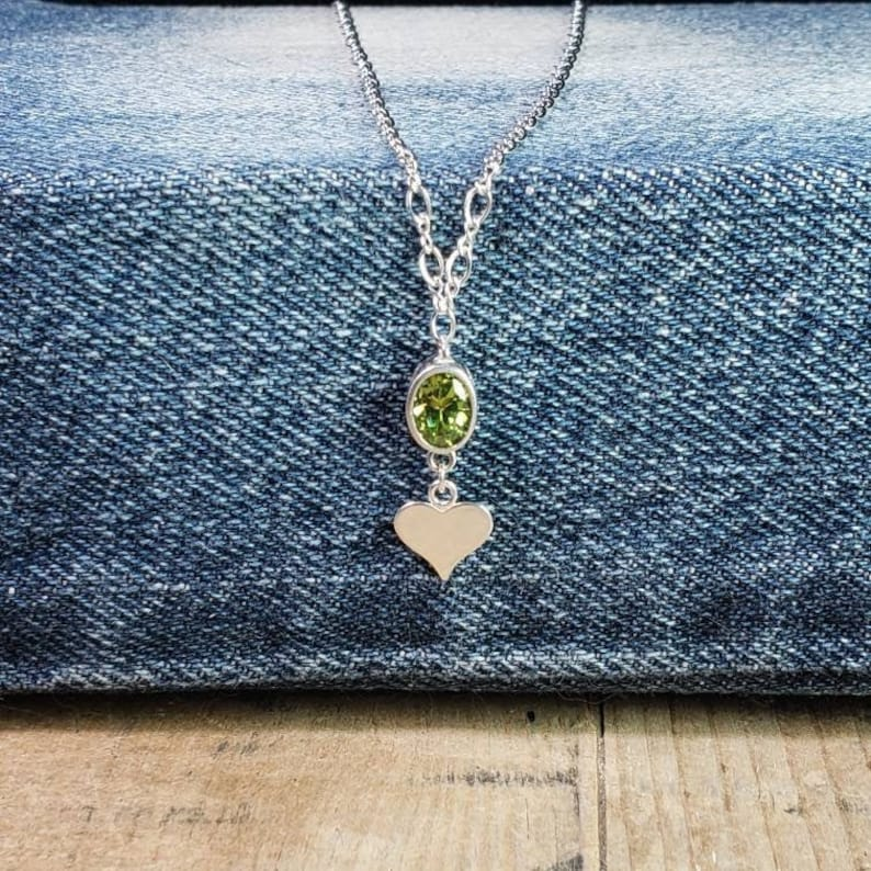 Peridot Sterling Necklace Personalized Initial Charm Heart~Circle Charm Necklace Custom Initial Necklace August Birthstone Green Gemstone