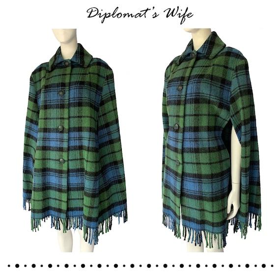 60s Plaid Wool Cape with Fringe