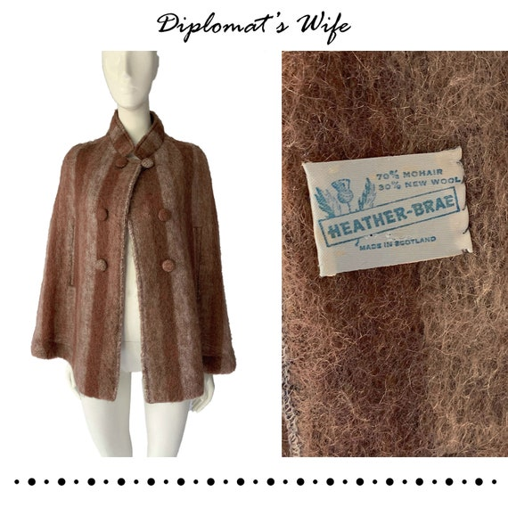 60s Scottish Mohair & Wool Cape | Heather-Brae