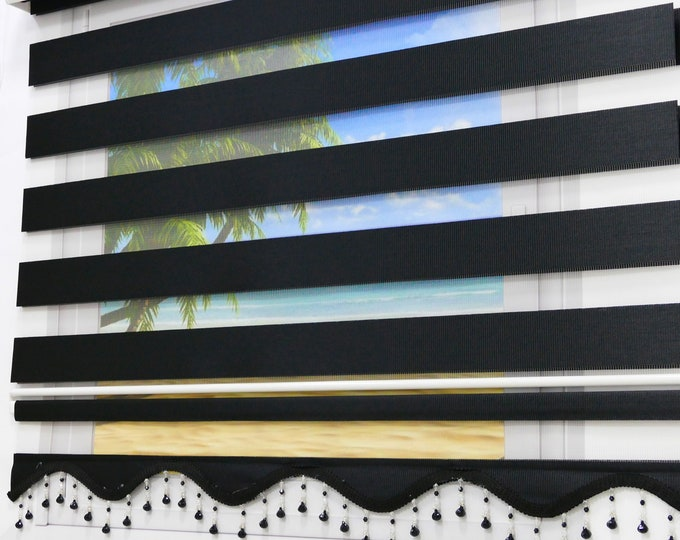 Brilliant Double Rollo Lizbon Black Uni Darkening Duorollo Window Spectated visually Protection sunscreen Gardine with volant pearl