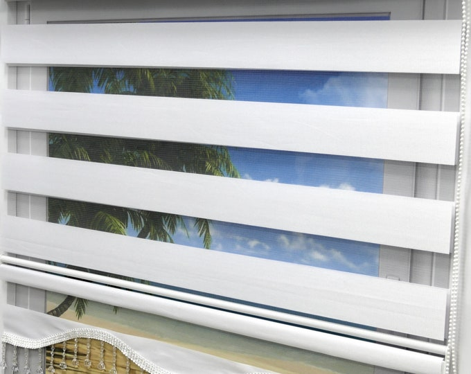 Brilliant Double Rollo White Uni Lizbon White Duorollo Window Door visually dense viscice sunscreen curtains darkening blinds