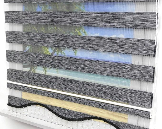 Brilliant Double Rollo Oregon anthracite Darkening Duorollo Window Visual Visual Protection sunscreen Gardine with volant beaded