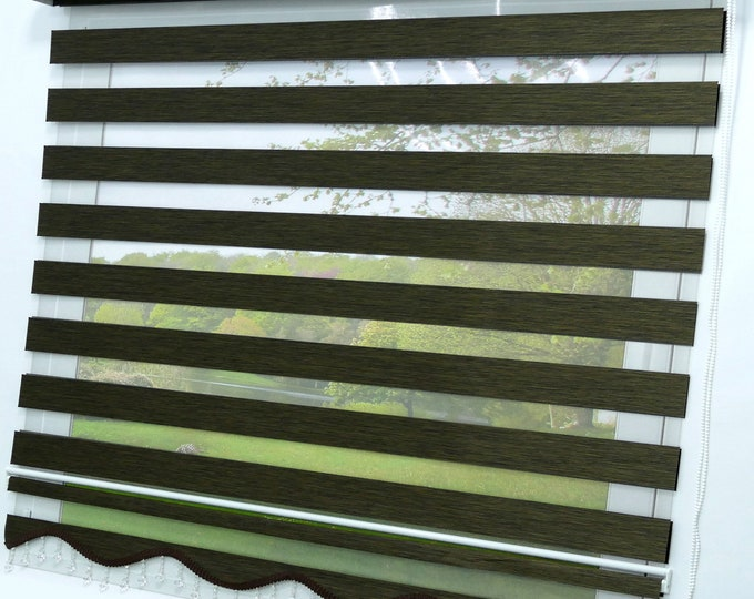 Double rollo Mokka Dark Brown Lizbon Modern Darkening Rollo Window Rollo Duorollo Blickdicht viscage Protective sunscreen Curtains Zebra Perde