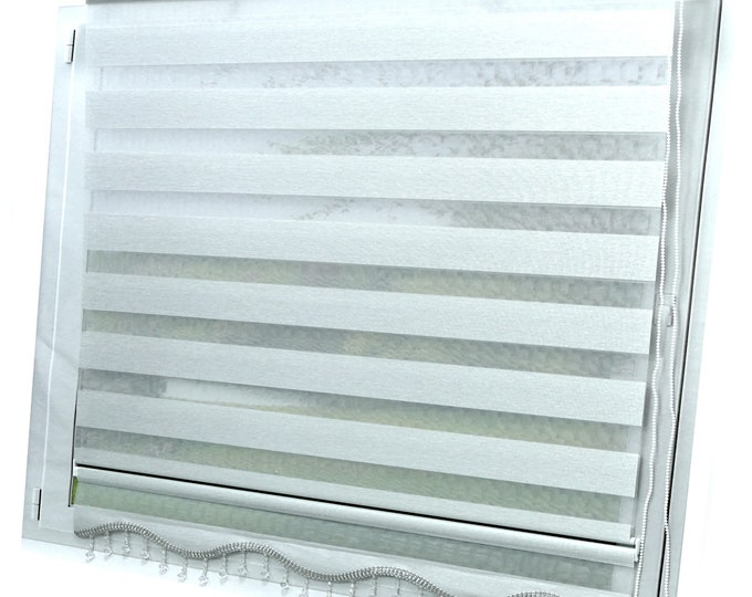 Double Roller Duorollo Klemmfix Rollo without Drilling Grey Curtains Window Blind Darkening Roller Blind Sight-Proof Visibility- Sunscreen Zebra Rollo