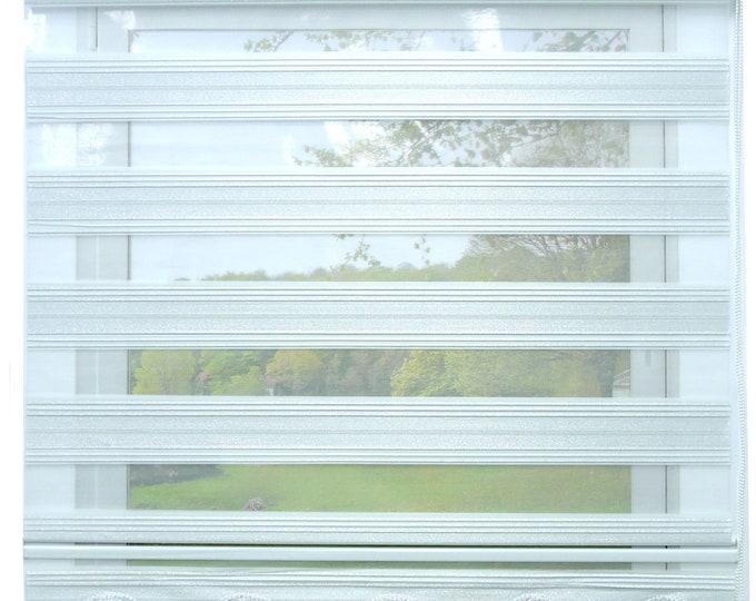 Double rollo Duorollo White Grey Silver glittering blackout rollo window rollo vis-tight privacy sunscreen curtains with volant beaded