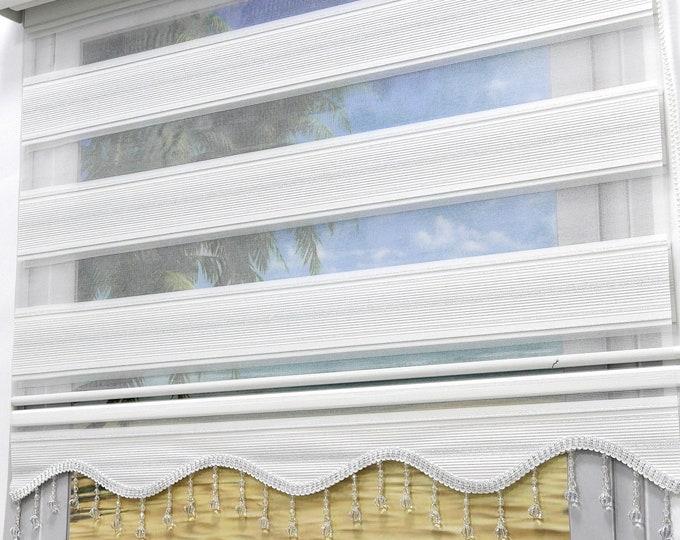 Brilliant Double Rollo Micro Plissee White Silver Glister Duorollo Window Rollos viscage viscage Protected sunscreen Gardine with volant pearl