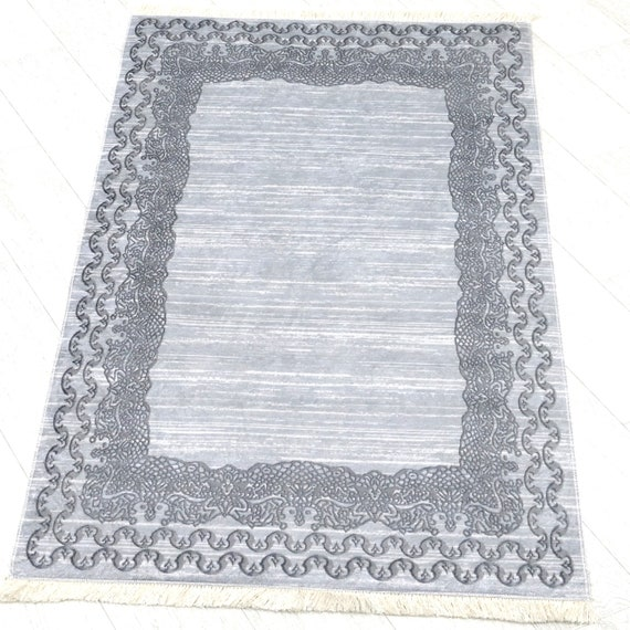Washable rugs grey colors mottled with fringe anti-slip inhibiting dust-free bordure designer Shabby carpet rectangular 160 x 230 cm