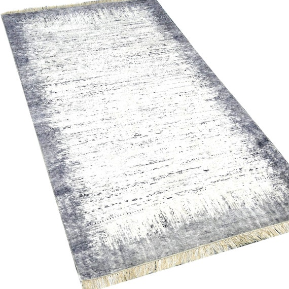 Washable rugs grey colours mesmmed with fringe anti-slip inhibiting dust-free designer's living room carpet rectangular 160 x 230 cm Shabby