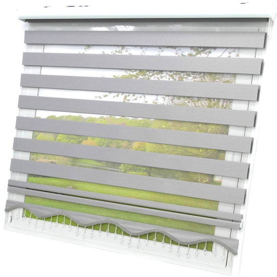 Double rollo grey monochrome Brillant Lizbon brands window blinds visually protection sunscreen blinds clingfix blanket