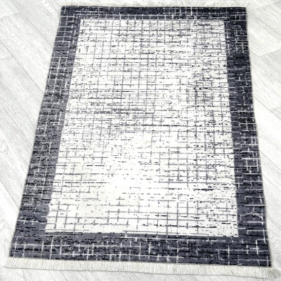 Washable rugs grey colors mottled plated with fringe anti-slip inhibiting dust-free designer Shabby carpet rectangular 160 x 230 cm